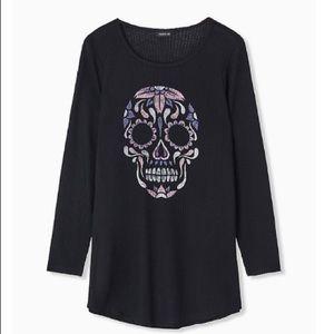 Torrid Black Skull Waffle Knit Long Sleeve
